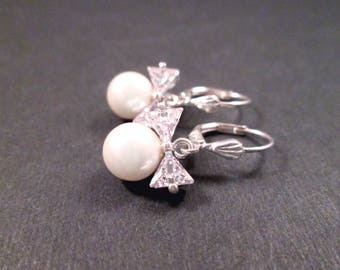 Cubic Zirconia and Pearl Earrings, White Glass Pearl and Bow, Silver Dangle Earrings, FREE Shipping U.S.