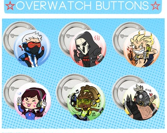Overwatch Buttons/ All Characters available!