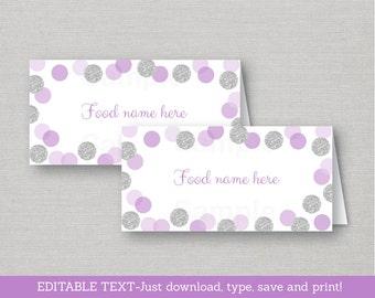 Glitter Buffet Cards / Glitter Place Cards / Glitter Dots / Glitter Confetti / Purple & Silver / INSTANT DOWNLOAD Editable PDF A151