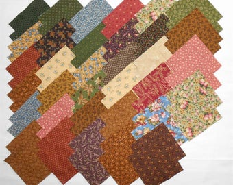 """Thimbleberries/Thimbleberry Charm Pack (68ct- 5"""" x 5"""" squares)  Circle of Love fabrics-purple/green/cream/blue/red/rust/brown/floral (#3792)"""