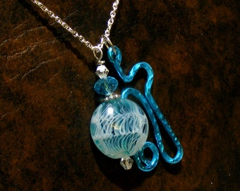 Handmade Light Weight Hammered AQUA charm with a Aqua Mist Lampwork bead Pendant Nc2359, Rustic, Heavenly, Ocean waves, gift  by Lynn SRA