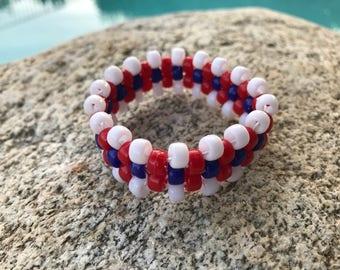 4th of July Cuff Bracelet//Patriotic Stretch Bracelet//Red White & Blue Bracelet//Kandi Raves Bracelet//Party Favors