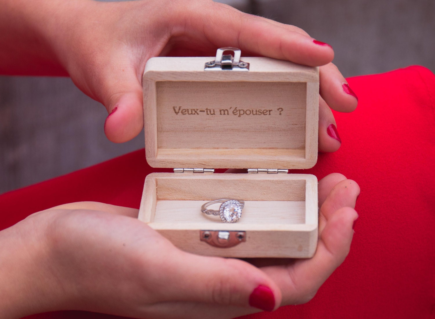 Wedding rings wooden box engraved quote phrase wedding box