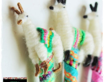 Tiny Llama Alpaca Pen covered with Andean Textile Aguayo Fabric & Collectible Handcrafted Miniature Figurine on top