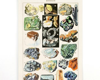 Pull Down Chart - Minerals Art  / Vintage Geology Diagram Malachite Canvas. Le Petit Larousse French Encyclopedia by Millot Mineraux CP269cv