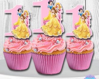 Disney Princess Cupcake Toppers, Cupcake Picks YOU PRINT