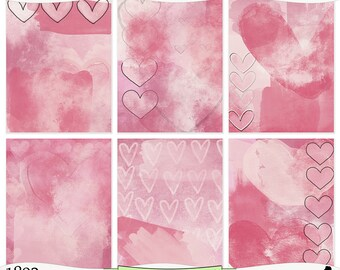 Pink Hearts Painted Digital Prints Instant Download Set of 6 - 8.5 x 11 inch Printable Papers JPEG & PDF Commercial Use 1892