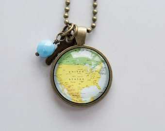 Map of United States - Map Pendant Necklace - Custom Jewelry - Travel Necklace - Patriotic Gift for Women US Map Necklace USA Gift States