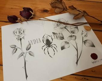 Rose garden original artwork A4 185gsm