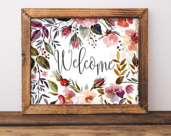 Printable Wall Art, Welcome printable art, Home art, Home decor, gallery wall, home poster, apartment decor, digital download floral art