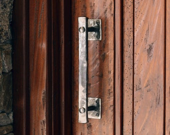 "Wrought Iron Barn Door Handle - 8"" Lithops Tenon Door Handle"