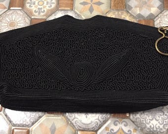 Vintage Classic Black Clutch Evening Bag from the 60s
