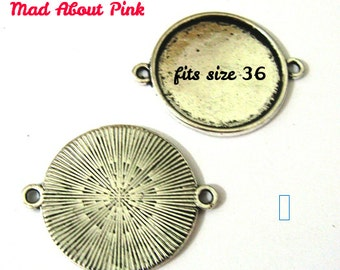 Connectors frame in bronze for cabochon setting fits 25 mm diameter 5 pcs