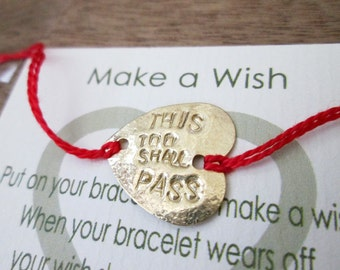 This Too Shall Pass-Inspirational Gold Stamped Heart Bracelet on a Red String-Personalized Heart Bracelet-Gold Heart Jewelry-Gift For Her