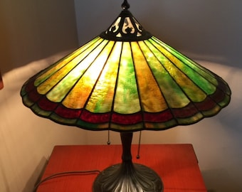 """Antique Handel Parasol Table Lamp, Signed Shade and Base, 18"""" High, 18"""" Diameter Shade"""