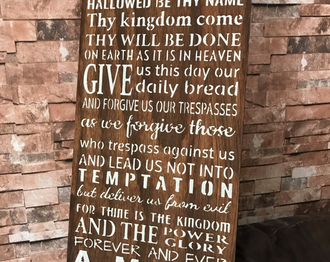 Large The Lords Prayer Stained Rustic Wood Farmhouse Style Rustic Wood Sign