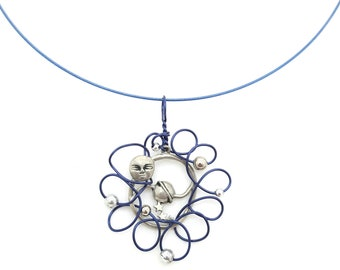 Blue and silver necklace can be worn as a pendant on a strip of leather or at the neck on a hoop