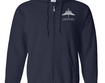 US Army Senior HALO Embroidered Hooded Sweatshirt w/ Zipper-7816