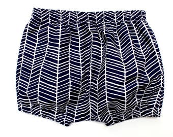 Baby boy cotton shorts - navy herringbone - bloomers - nappy cover - diaper cover