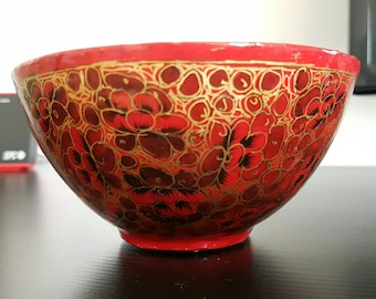 Ornate Kashmiri Papier Mache bowl in red and gold