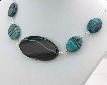 Turquoise and Black Necklace- Jasper and Onyx Necklace- Picasso Jasper and Black Onyx Gemstones- Unique Gift for Her