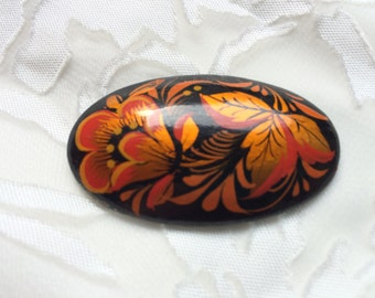 Vintage Russian Black Lacquered Hand Painted Floral Oval Brooch/Pin
