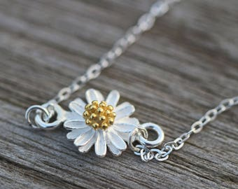 Daisy Charm Sterling Silver Necklace Mother's Day Birthday Easter Gift