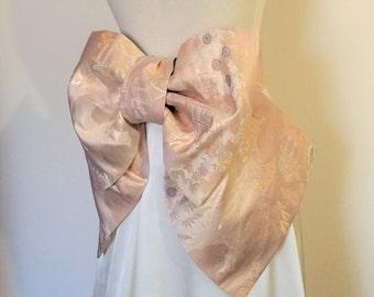 Vintage KIMONO Wedding sash OBI bow belt gold silk brocade pastel pink gold ivory purple green KYOTO landscape pre tied obi ready to ship
