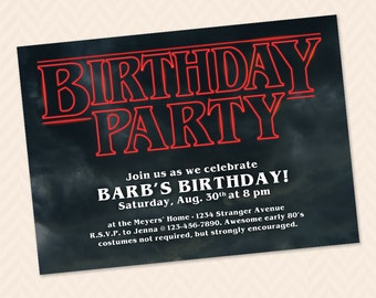 Stranger Things Inspired 80s birthday party invitation