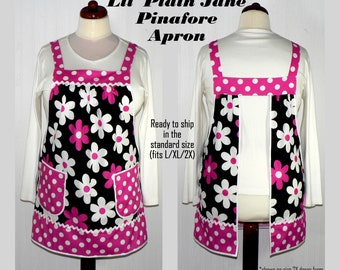 Loose Fitting Pinafore Apron (Lil Plain Jane in Fuchsia) all day apron, Mother's Day gift ready-to-ship now, retro smock apron, no tie apron