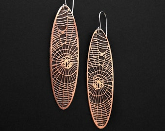 Spiderweb Vignette Earrings  - handmade out of copper in my Austin Tx Studio - by Jamie Spinello