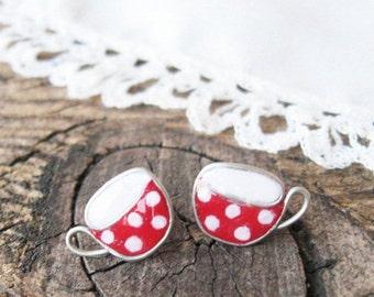 Tiny stud earrings,  Red white earrings, Tea cups earrings, Mug of tea, Red polka dot cup, Cute Gift for her, hypoallergenic posts
