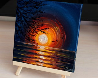 Sunset painting Gift for him Oil painting on canvas Sunset art Orange painting Sea Artwork Space art Small painting Seascape Decor Size 8x8""