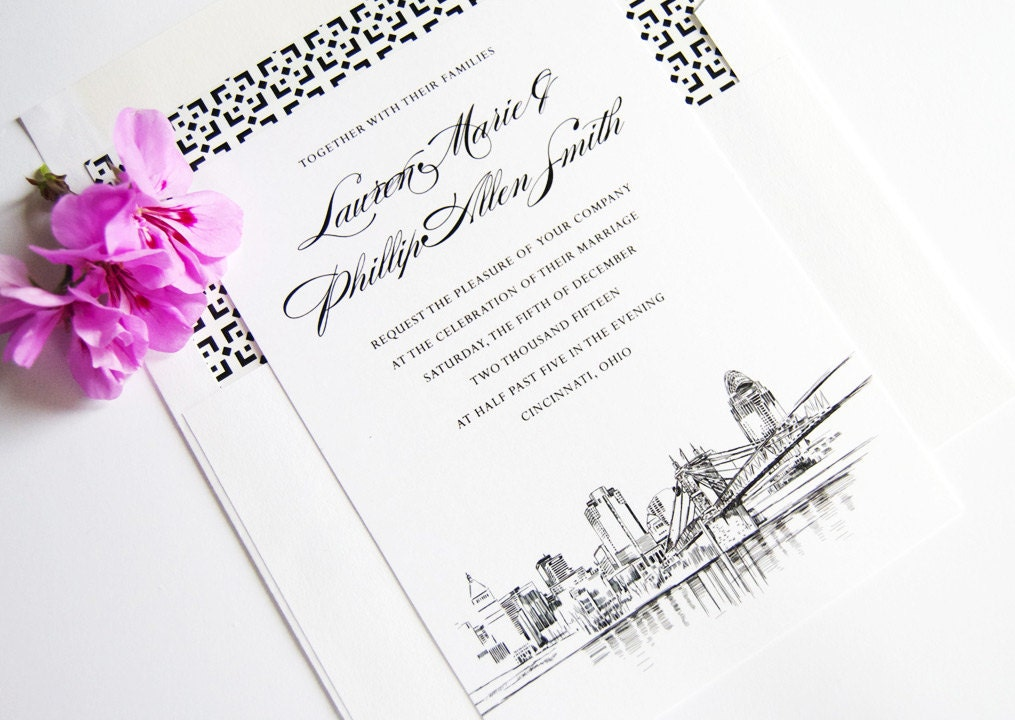 Cincinnati Skyline Wedding Invitation Cincinnati Wedding