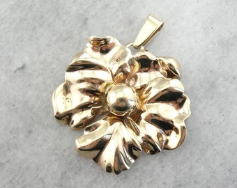 Vintage Mid Century Blossom Pendant In Yellow Gold 914233-P