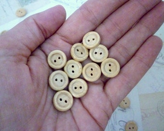 Wood Buttons SMALL 12mm - Pack of 10
