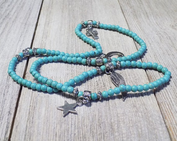 Aqua bracelet, Turquoise Beaded Bracelet, stretch bracelet, multilayer bracelet, angel wing charm, cross charm, heart charm, star charm