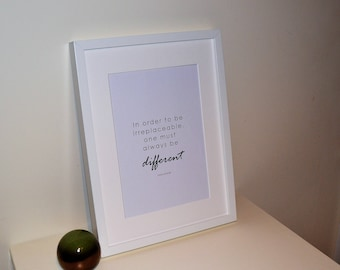 Coco Chanel Print - Irreplaceable Different, Artwork, Dressing Room, Modern