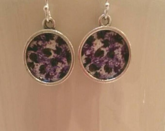 Dangly purple floral earrings