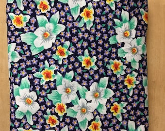 Purple and Teal Floral Vintage Cotton Fabric quilting apron skirt dress pillow doll making forget me nots