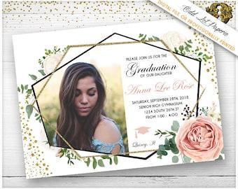 Printable Graduation Announcement Floral Grad Invites College Graduation Invitation High School Graduation Invite, Boho Floral Geometric
