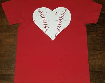 Baseball distressed heart tee