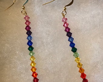 Rainbow Swarovski Stack Gold  Earrings/ Stacked Earrings