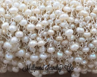 White Cultured Pearl Wire Wrapped Rosary Chain, Beaded Chain, Chain by The Foot, Sterling Silver, Tiny 2-4 mm Pearls, 1 Foot, BCS2501