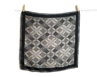 Polka Dot Scarf Black White Circles Squares Dotted Vintage