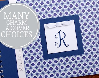 Baby Memory Book Boy | Baby Album Photo Book & Journal | Personalized | Baby's First Year Book | Blue Lattice with Initial Charm