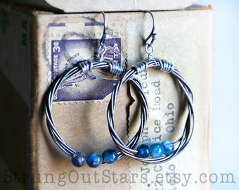 Strung-Out violin string hoop earrings with kyanite