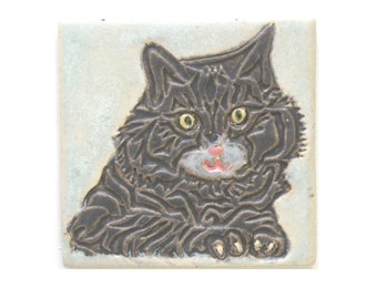 Cat Arts and Crafts Handmade 4x4 Decorative MUD Pi Tile