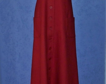 Aunt Abigail's Attic bright red Wool Floor Length MAXI DRESS ~ Vintage 1980s Fit & Flare Sleeveless Dress, Red Wool, Calico Cotton Trim ~ S