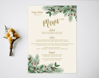 Wedding Menu  Reception  Vintage Wedding Decor  Winter Wedding  Fall Wedding  Wedding Reception Menu  Wedding Menu Card